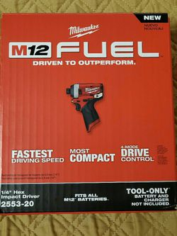 """Milwaukee Gen 2 M12 FUEL Brushless 4 Mode 1/4"""" Hex Impact Driver (Tool Only) * BRAND NEW SEALED * $80 Price is Firm for Sale in Seattle,  WA"""