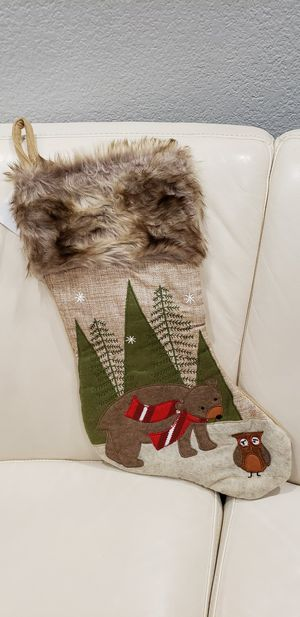 "Bear Owl Stocking Christmas decoration brand new 18x11"" great for the upcoming holiday. Has brown fur at the top. Will ship quickly! for Sale in Ontario, CA"