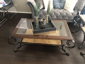 Z Gallerie Wood and Wrought Iron Coffee Table with Two Side Tables VERY HEAVY DUTY **MAKE ME AN OFFER** for Sale in Fontana, CA