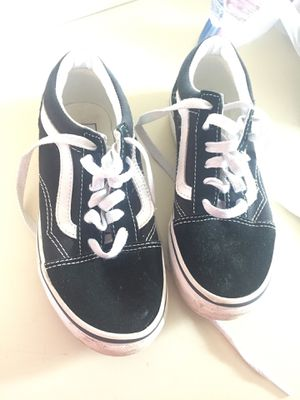 Black vans size 2 only used twice ! very comfy for kids! And dose need some cleaning for Sale in Kent, WA