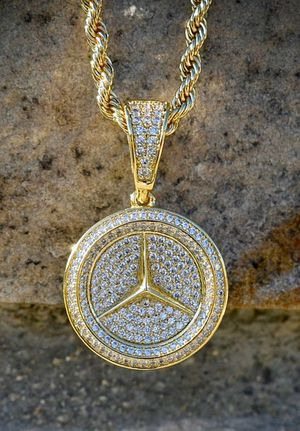 Custom Made Italy 925 Sterling Silver 14k Stamp VVS1 Mercedes Benz Iced Out Pendant Necklace! SHIPPING ONLY for Sale in Washington, DC