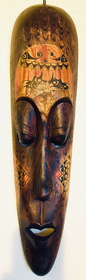 Hand crafted Indonesian wood mask H20xW5.5xD2.2 inch for Sale in Chandler, AZ
