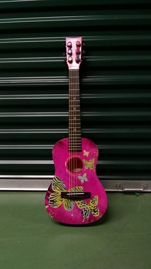 Guitar-- Girls Butterfly Guitar. Practically Brand New !! Not wood but very sturdy/strong plastic. Nice Size... for Sale in Lakeland, FL
