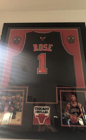Derrick rose framed autographed jersey for Sale in Las Vegas, NV