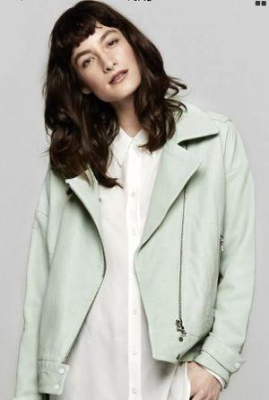 J Brand Durham Leather Moto Jacket - Medium - Mint Green for Sale in Arlington, VA