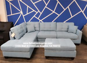We Finance 😁 Visit Our Showroom - Blue Reversible Chaise Couch Sofa Sectional With Ottoman for Sale in Los Angeles, CA