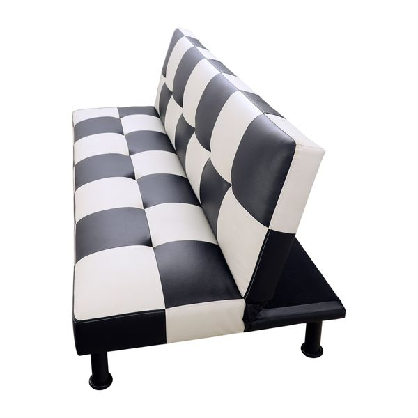 Brand New Checkered Leather Tufted Futon & Free Delivery