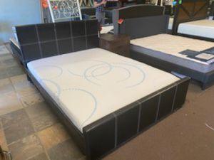 Queen size platform bed frame with Blue Dot Gel Memory Foam Mattress included for Sale in Glendale, AZ