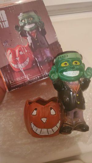 kirklands Halloween Frankenstein with pumpkin tea candle holder vintage for Sale in Homestead, FL