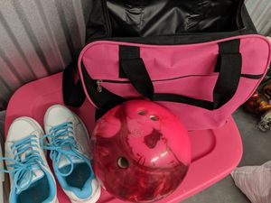 Used, Women's pink 10 lb bowling ball and shoes and bag for Sale for sale  Pinellas Park, FL