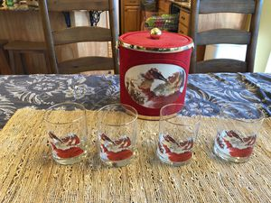 Coca Cola Ice Cooler and 4 Glass Santa Cups for Sale in Oregon City, OR