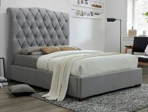 New Janice Gray Upholstered King Platform Bed | 5101 for Sale in LUTHVLE TIMON, MD