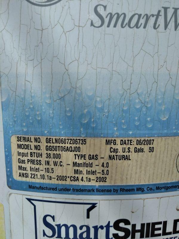 GE 50 GALLON WATER HEATER