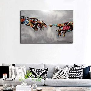 Classic Street Art Banksy Graffiti Paintings Canvas Wall Art Adam Hand of God Pop Art Prints Framed Home Dining Living Bedroom Office Decor Abstract for Sale in Bellerose, NY