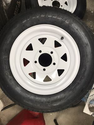 Trailer tires with rims brand new have 2 50.00 ea for Sale in Ocean Shores, WA
