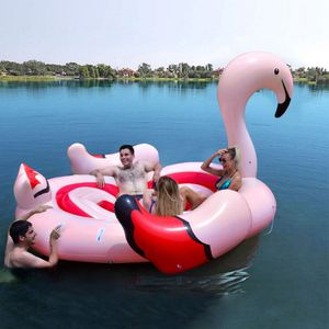 6-Person Inflatable Flamingo Floating Island With Electric Pump for Sale in Rosemead, CA