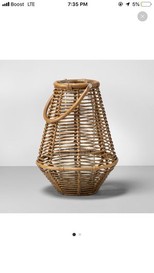 Rattan Lantern Candle Holder with Glass for Sale in Los Angeles, CA