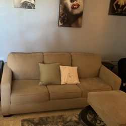 Beige pull out bed couch queen size bed with mattress for Sale in Pflugerville,  TX