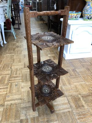 "Mid century carved small shelf plant stand 11 x 9 x 32"" for Sale in La Mesa, CA"