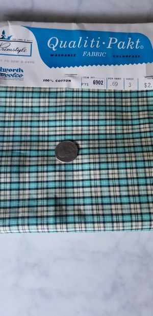 Vintage gingham plaid green fabric for Sale in Skokie, IL