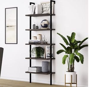 Theo 5-Shelf Wood Ladder Bookcase with Metal Frame, 5-Tier, Dark Walnut Brown/Black for Sale in Ontario, CA
