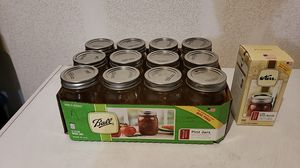 Ball 16 oz canning jars, dozen, with 4 extra lids and bands for Sale in Portland, OR