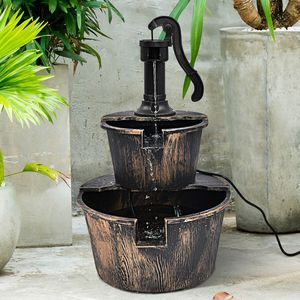 Electric Outdoor Barrel Waterfall Fountain with Pump For Yard Garden for Sale in New Orleans, LA
