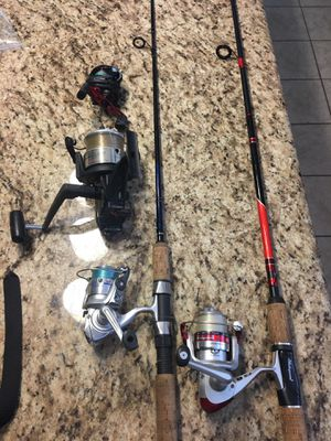 Fishing poles rod reels. Abu Garcia Shakespeare Daiwa Shimano Sabre penn for Sale in Moreno Valley, CA
