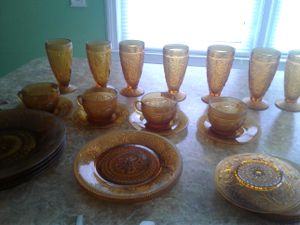 Amber Glass Luncheon plates cup glasses and saucers...Tiara Indian Glass for Sale in Oak Park, MI