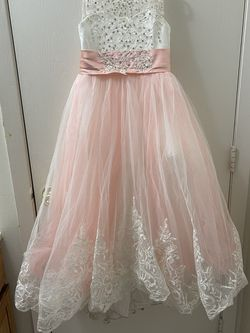 Size 10 Blush Pink And Beige Flower girl Dress for Sale in Mundelein,  IL