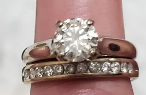 1. 4 ct white gold solitaire engagement ring with diamond white gold matching band for Sale in Pleasanton, CA