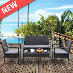 4 PCS Outdoor Patio Rattan Wicker Furniture Set Table Sofa Cushioned Deck Black for Sale in Philadelphia, PA