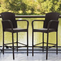 2 PCS Rattan Wicker Bar Stool Dining High Counter Chair Patio Furniture Armrest for Sale in Phoenix,  AZ