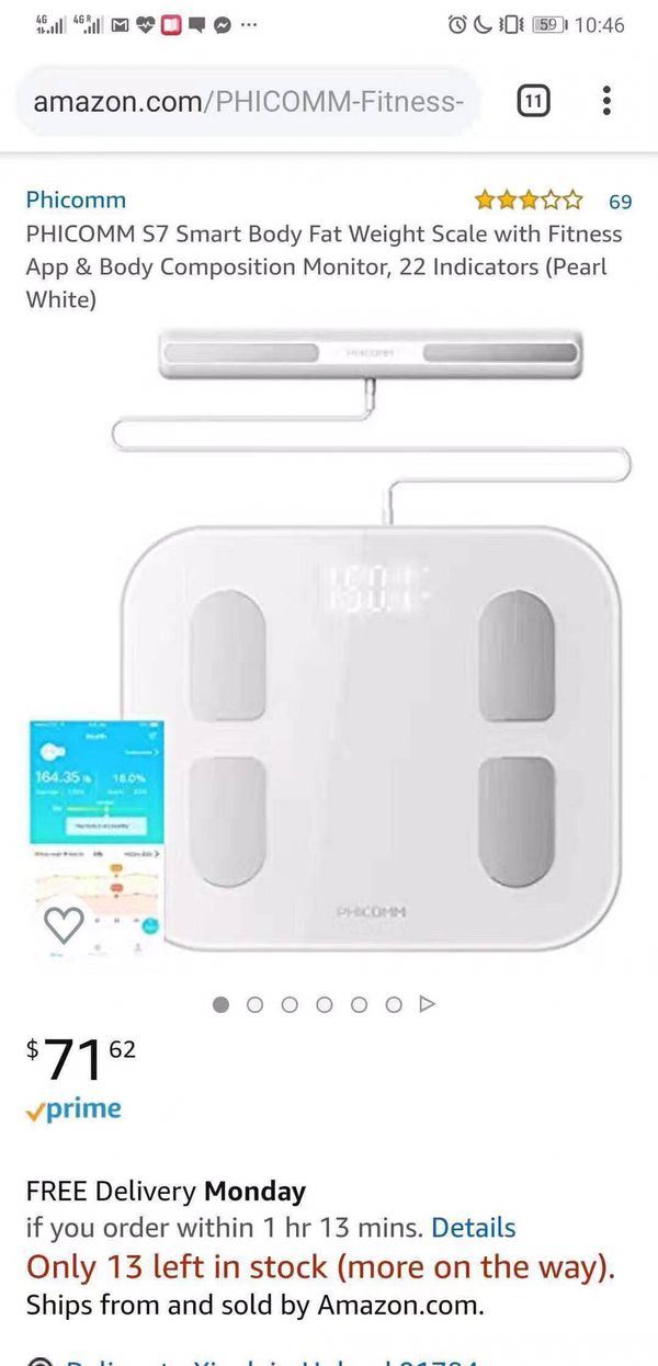 Phicomm S7 Smart Body Fat Weight Scale with Fitness App & Body Composition Monitor