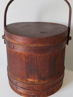 Antique Firkin Sewing Bucket W/Lid & Shelf for Sale in Wilmington,  DE