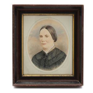 Beautiful 19th Century Portrait in Gouache on Paper for Sale in Lakewood, CO