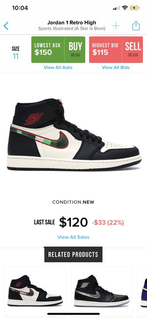 Sports Illustrated Jordan 1s Size 11 for Sale in White Plains, MD