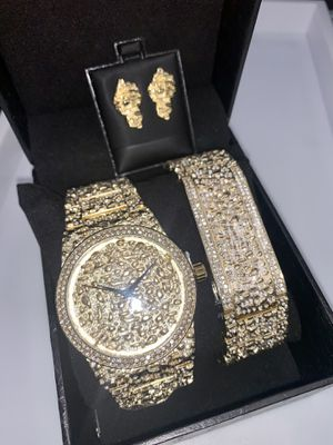 22k stainless steel NUGGET watch set created with lab Diamonds for Sale in Las Vegas, NV