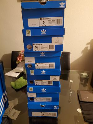 6 pairs of Adidas superstar J,, for Sale in Anaheim, CA