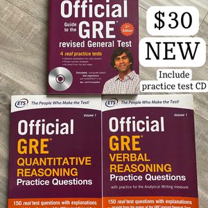 NEW OFFICIAL ETS GRE GUIDES - GENERAL, MATH, & VERBAL SET for Sale in Garden Grove, CA