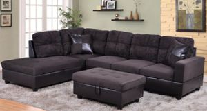New espresso microfiber sectional couch with storage ottoman for Sale in Kent, WA