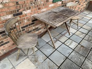 Wooden foldable table and wooden chairs for Sale in Beltsville, MD