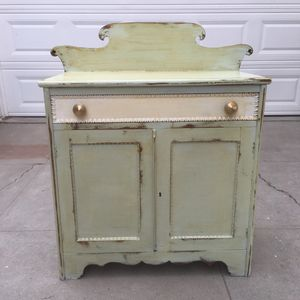 awesome green and white shabby cabinet drawers shelf for Sale in San Diego, CA