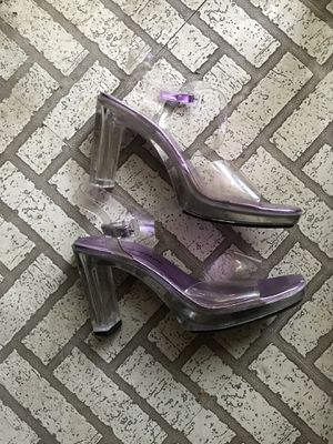 Clear lucite strappy heels for Sale in Los Angeles, CA