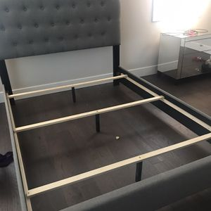 Queen Upholstered Bed frame With Mattress for Sale in North Bend, WA