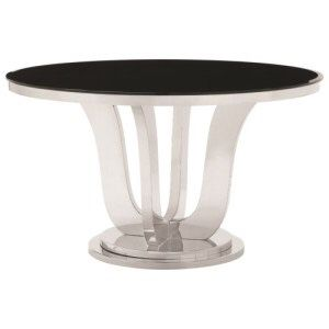 Brand New Blasio Glam Round Dining Table with Black Tempered Glass Top for Sale in Atlanta, GA