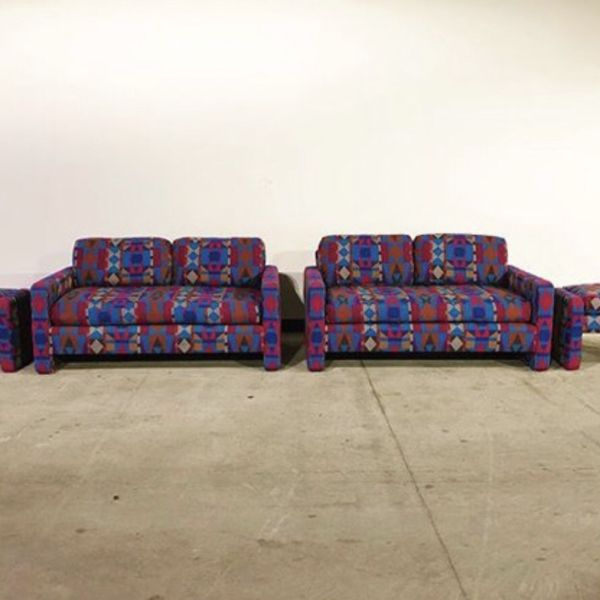 Love Seat Pair (2) Jewel Tone Mid Century Modern With Mayching Ottomans