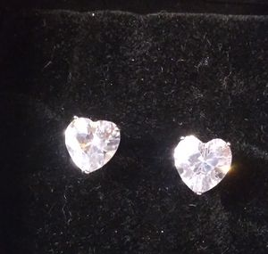 Sterling Silver CZ Heart Earrings for Sale in North Richland Hills, TX