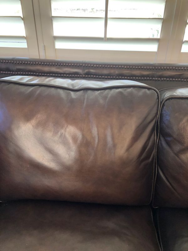100% Brown Leather Couch