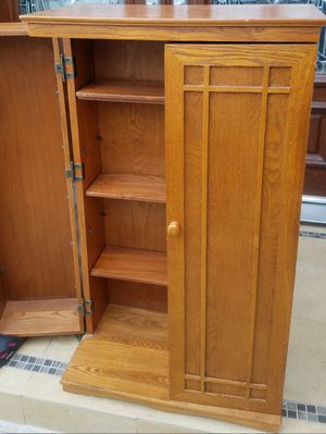 Beautiful SOLID WOOD 2 Door Compact Storage Cabinet Bath Kitchen Pantry Stand Unit + Shelves INCLUDED for Sale in Monterey Park, CA